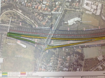 Map showing exit ramp at Ormond Rd