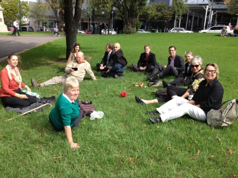 community members enjoying treasury gardens